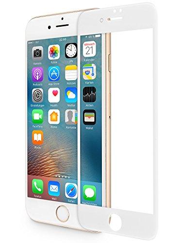 WIIUKA Panzerglas -PROTECT 3D- für Apple iPhone 8 PLUS und iPhone 7 PLUS, Weiß, schützt die komplette Frontseite, gehärtetes 9H Glas mit schmutzabweisender Oberflächenbeschichtung, Premium Schutzfolie