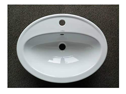 Keramik - Waschbecken/Einbauwaschtisch 53,5 x 41 cm oval, weiß mit 1 Hahnloch