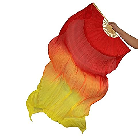 Dance Fairy Belly Dance Silk Fan Veils, Bright Vibrant Colors, 1.8m Long Both hands Red,Orange,Yellow