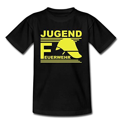 Spreadshirt Jugend Feuerwehr Helm Teenager T-Shirt, 152/164 (12-14 Jahre), Schwarz -