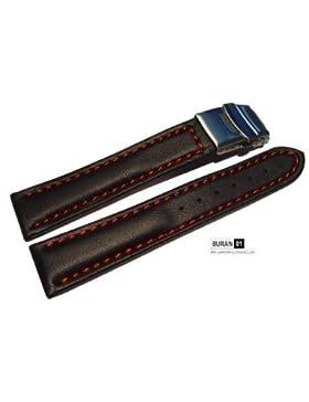 Original von Buran01.com Uhrenarmband mit Sicherheitsfaltschließe schwarz Rote Naht 22mm
