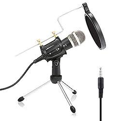 PC und Handy Mikrofon,NASUM,mini Kondensatormikrofon mit 3.5mm klinke Aufnahme Mikrofon für Podcast,Recording,Studio,Skype,YouTube,mit Ständer und Popschutz,für Android/IOS PC oder Alle Smartphone