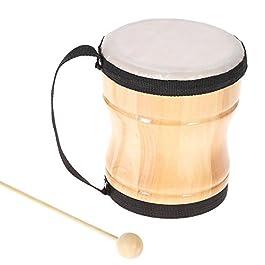 Ammoon bambini bongo–Peluche musicale–Strumento a percussione in legno con battente e cinghia