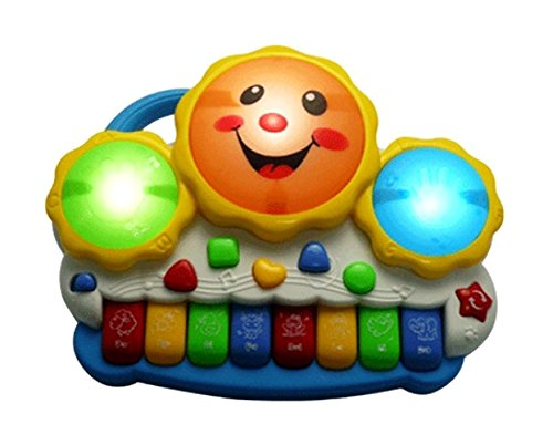 Musical Instrument Hand Beat Drum Keyboard Musical Toys with Flashing Lights - Animal Sounds and Songs Baby Kids Educational Fun Toy