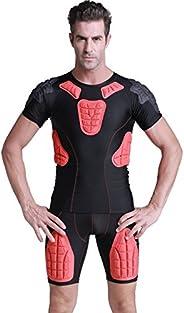 TUOY Padded Compression Shirt Padded Football Shirt Rib Chest Protector Shirt