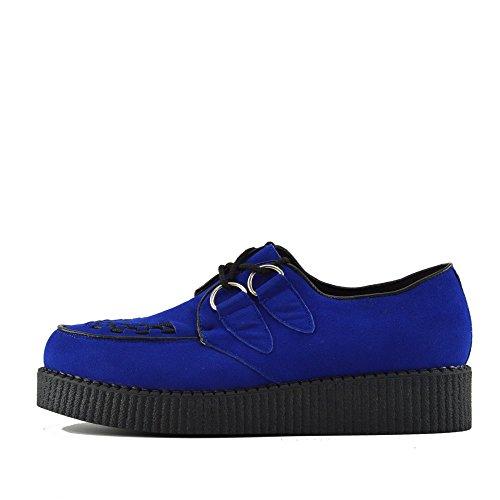 Kick Footwear Herren Flach Plateau Keil Schnüren Gothic Punk Leisetreter Creepers Schuhe Größe - UK 8/EU 42, Royal Blau (Männer-keil-schuhe)