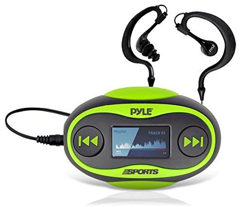 Pyle B00EEJZGRU 4GB Wasserdichter MP3 Player (FM-Radio, Schrittzähler, Stoppuhr, LCD-Display, Kopfhörer) grün