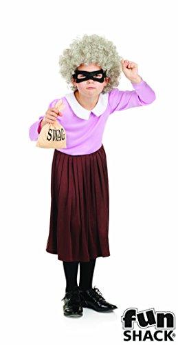 Einbrecher Granny - Kinder Kostüm - Large - 136cm - Alter 8-10 (Einbrecher Outfit)