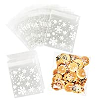 Christmas Cookie Bags, 200Pcs Clear Self Adhesive Snowflakes Cellophane Treat Bags for Xmas Birthday Wedding Holiday Party Favour Gift Sweets