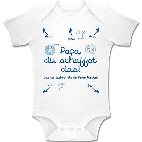 feuerwehrstrampler Shirtracer Strampler Motive - Papa du schaffst Das Feuerwehr Junge - 3-6 Monate - Weiß - BZ10 - Baby Body Kurzarm Jungen Mädchen
