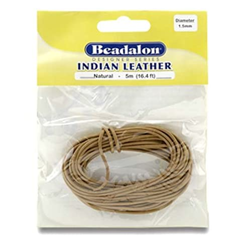 Beadalon 136X-015 Indian Leather Cord, 1.5mm, Natural, 5M