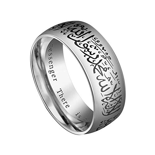 Vektenxi Premium Qualität CreativePunk Islam Muslim Quran Verse Titan Stahl Finger Band Ring Schmuck Geschenk