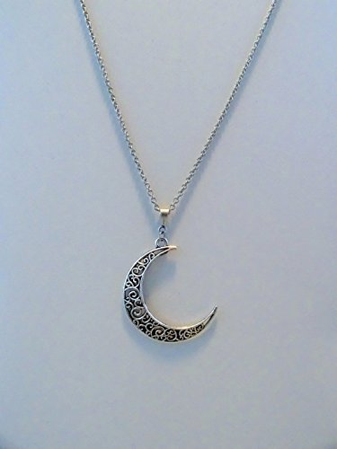 antik-silber-crescent-moon-halskette