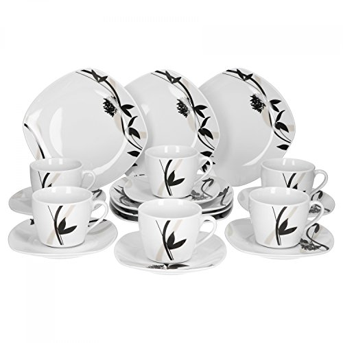 Van Well Calypso 18-tlg. Kaffeeservice für 6 Personen, Frühstücks-Set, Kaffeegeschirr, Tasse +...