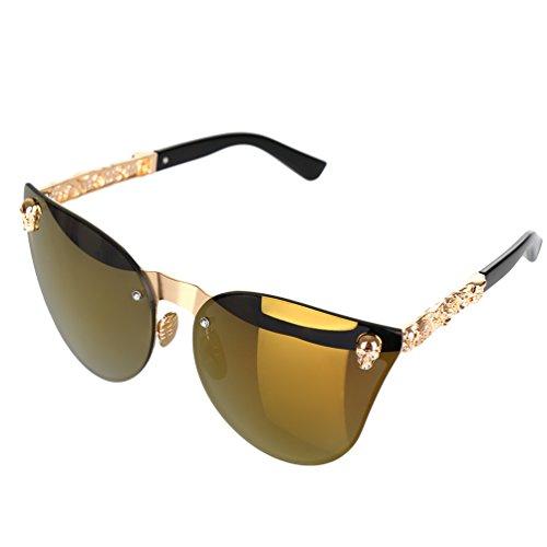 Vbiger Herren & Damen Katzenaugen Sonnenbrille Moderne Modische Schädel Besetzt Sonnenbrille