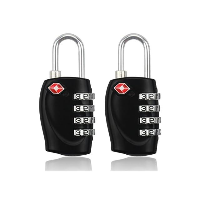 MIDWEC Nouvelle Version Lot de 2 Cadenas de Sécurité à Combinaison de 4 Chiffres Cadenas a Code pour Valise Bagages Approuvé par la TSA (NOIR) (2 Cadenas)