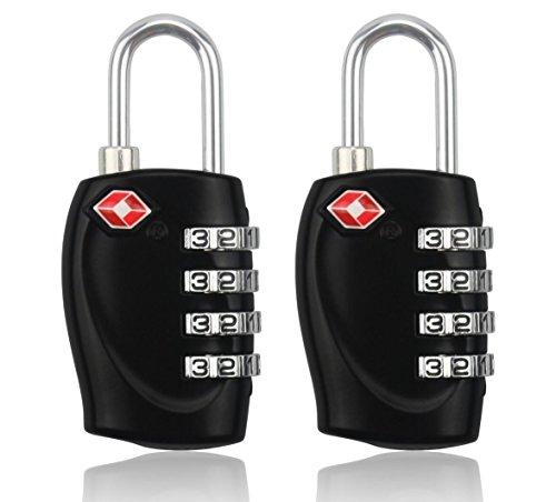 MIDWEC Nouvelle Version Lot de 2 Cadenas de Sécurité à Combinaison de 4 Chiffres Cadenas a Code pour Valise Bagages Approuvé par la TSA (NOIR) (2 Cade...