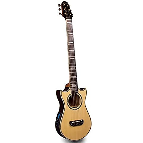 Lindo Solid Spruce Top Voyager Electro-Acoustic Travel Guitar with SV-M700 Blend Preamp/LCD tuner & Moulded Hard