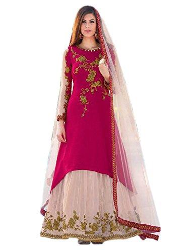 Shoppingover Designer ethnic embroidered Bollywood Salwar Kameez Dress Fabric- Pink Color