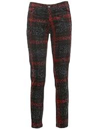 Motel Women's Plaid Leopard Print Pants Cotton