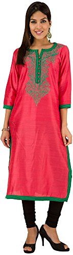 Folklore Women's Straight Kurta (FOKU001707_Coral_S)  available at amazon for Rs.679