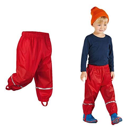 Kinder Mädchen Jungen Regnhose Regenlatzhose Wasserdichte Buddelhose Matschhose Sehr Atmungsaktiv Rot 110/116