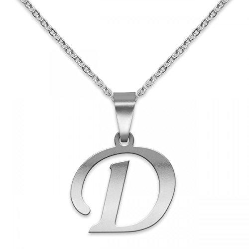 Buchstaben Kettenanhänger mit Halskettchen aus Edelstahl in Silber; Buchstabe: D ()