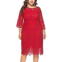 FEOYA - Mujer Vestido de Noche Encaje Cuello Redondo para Ceremonia Boda Banquete Falda Larga de