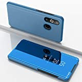 Custodia® Spiegelüberzug Clear View Standfunktion Flip Hülle für Samsung Galaxy A8s/Samsung Galaxy A50/Samsung Galaxy A30/Samsung Galaxy A20 (Himmelblau)