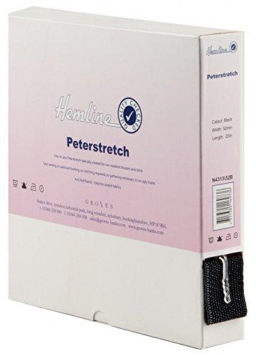 Hemline Élastique pour Petastretch Waistbands 32 mm-Au mètre-Noir