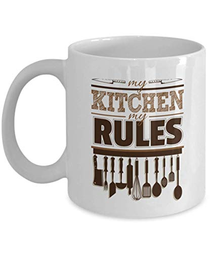 n My Kitchen My Rules Ceramic Coffee & Tea Gift Mug, Kitchen Supplies, Tool Present for Chef, Baker, Cook Mom & Dad ()