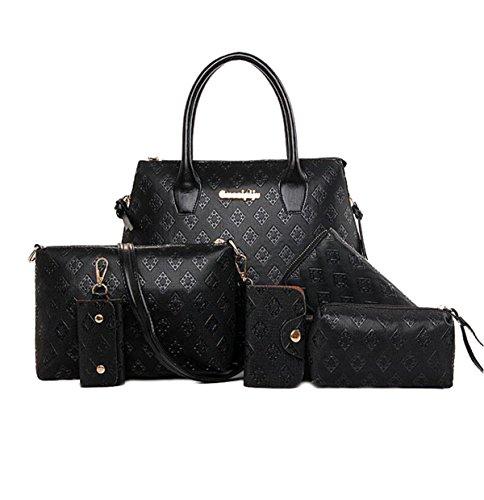 Frauen PU Handtaschen Europa Und US Große Kapazität Schulter Diagonal Tasche Multifunktions Wallet Black