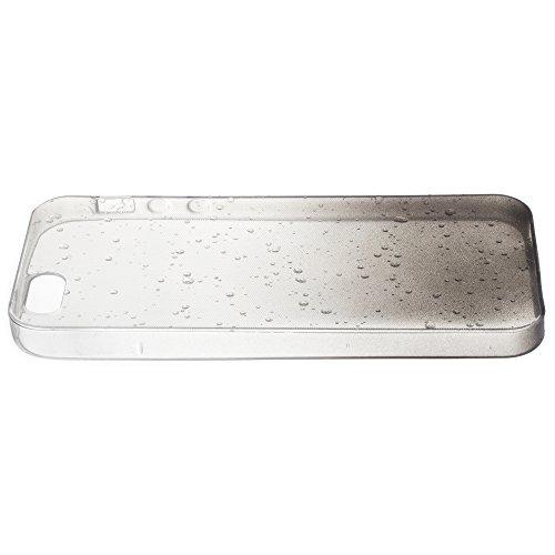 Zooky® Ultra dünne & weiche Premium TPU Regentropfen Case / Cover für Apple iPhone 5 / 5S, Transparent / Schwarz Schwarz