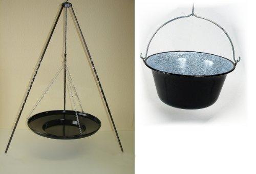 Set Ungarische Grillpfanne + Dreibein 1 Meter + Gulaschkessel 10 Liter Feuerpfanne Paellapfanne