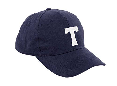 Unisex Jungen Mädchen Mütze Baseball Cap Marineblau Hut Kinder Kappe Alphabet A-Z Morefaz TM (T)