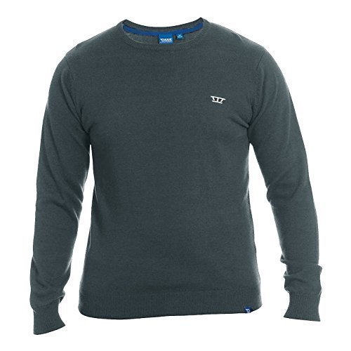 Hommes Duke Grand King Size Tricot Canute Manche Longue Pull-over Pull Col Rond Charbon