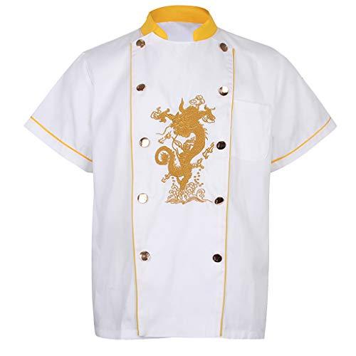 FLAMEER Chefstickerei Dragon Uniformen mit Stehkragen Sommer T-Shirt Chef Chefin Arbeitskleidung - Weiß XXXL -