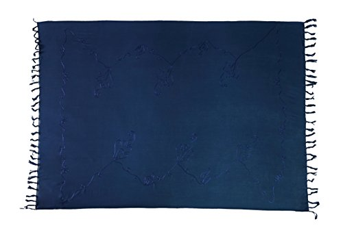 Premium Sarong Pareo Wickelrock Strandtuch Lunghi Dhoti Schlicht Blickdicht Tolle Stickerei Dunkel Blau + Schnalle
