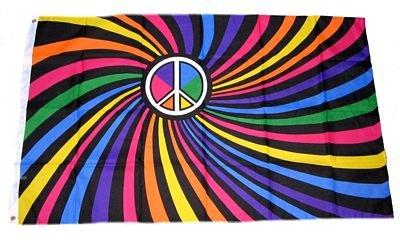 Fahne / Flagge Peace Zeichen Regenbogen NEU 90 x 150 cm Fußball-zeichen