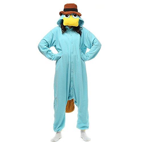 Erwachsene Unisex Pyjamas Kostüm Jumpsuit Tier Schlafanzug Fasching Cosplay Karneval, Tly117blue, - Kostüm Tier Overall