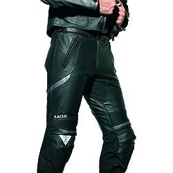 Racer Corium Pantalones de Cuero de Motorista, Negro/Plateado, 58
