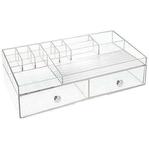 InterDesign Drawers Schubladenbox | Schminkbox mit 15 Fächern & 2 Schubladen zum Sortieren von Make-Up, etc. | Schubladen Organizer auch für Büro Zubehör | Kunststoff transparent (Chrome Kommode Schlafzimmer)