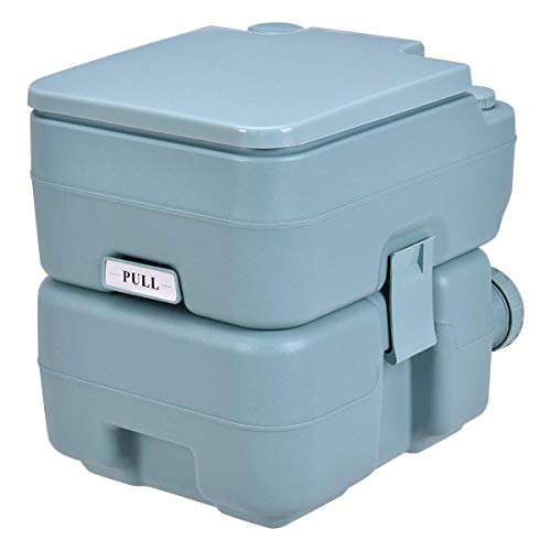 COSTWAY Inodoro Portátil con Tapa para Camping Viaje Móvil WC Exterior con Extraíble Tanque de Aguas Residuales 20 L y Tanque de Agua Dulce 10 L (Verde Claro)