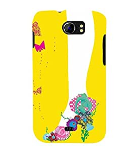 ANIMATED FLORAL FOOTWEAR FOR GIRLS IN A YELLOW BACKGROUND 3D Hard Polycarbonate Designer Back Case Cover for Micromax Canvas 2 A110::Micromax Canvas 2 Plus A110Q