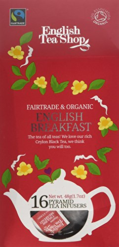 English Tea Shop Organic Fairtrade English Breakfast 16 Pyramid Tea Infusers 30 g (Pack of 6)