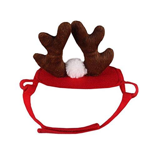 Foto de Gorro de Navidad genérico para mascotas con diseño de ángeles con el alce y la flor de seda, ideal para Halloween, Navidad, vacaciones, cosplay, accesorios para perros, gatos