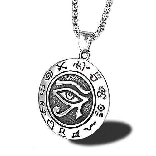 Burenqi Vintage Men Ancient Egypt Halskette ägyptischen Evil Eye Rune Auge der Anhänger Pyramide Illuminati Halsketten,Silber (Kragen ägyptische Halskette)