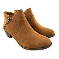 American Rag Ladies Faux Suede Cowboy Ankle Boots Side Zip Block Heel Brown Size UK 6-9
