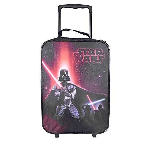 Trolley Bambino Star Wars - Borsone con stampa di Darth Vader - Valigia bimbo due ruote nera e rossa - Guerre Stellari - 41x29x12 cm - Perletti