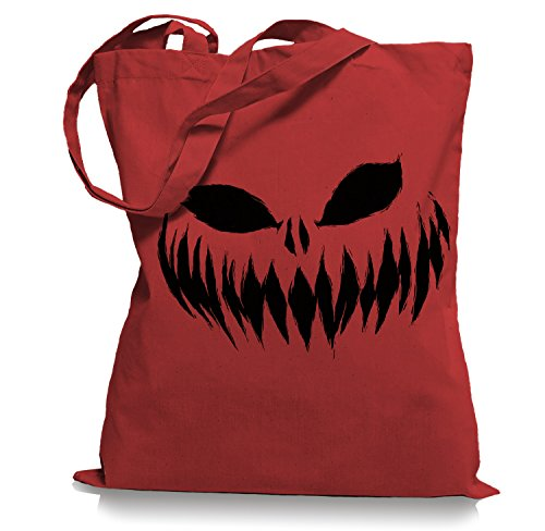 Ma2ca® Halloween Pumpkin Smiley black Tragetasche / Bag / Jutebeutel WM101-classic_red